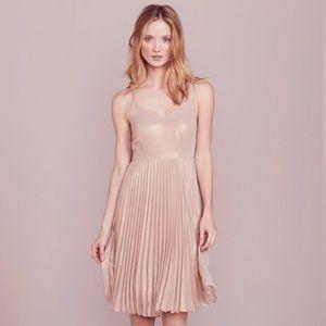 LC Lauren Conrad Brown Metallic Pleated Dress
